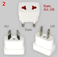 Adapter plugs: Australasian, Europlug and US type
