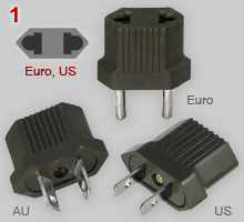 Adapter plugs, simple: Australasian, Europlug and US type