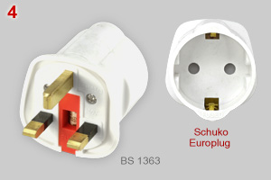 Adapter plug: British to Schuko type