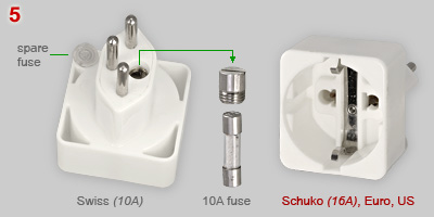 Adapter plug: Swiss to Schuko type