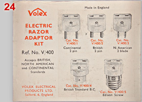 Volex Electric Razor Adaptor Kit, info sheet