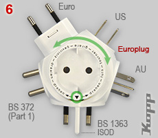 World travelplug: 5 plug types to Europlug