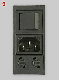 IEC 60320 C14 appliance inlet with switch and fuses