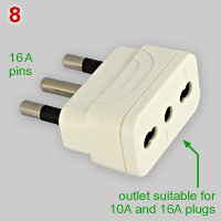 16A CEI 23-50 adapter for 10A plugs