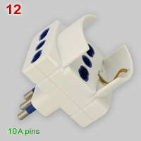 Italian multiplug for 10A, 16A and Schuko plugs
