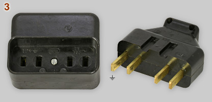 Obsolete Polish 25A 380V 3-phase plug and socket